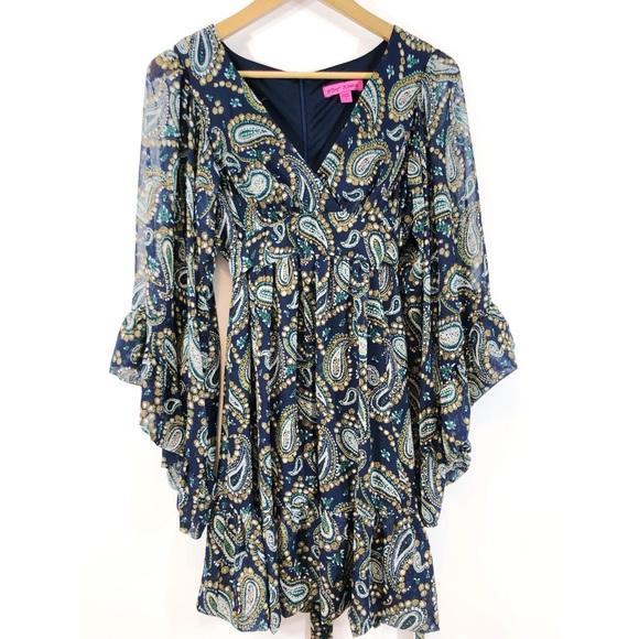 Betsey Johnson Dresses & Skirts - Betsey Johnson babydoll paisley bell sleeve dress